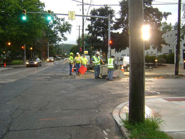 ADA curb work at the corner of Prospect and Ridgeway streets in East Stroudsburg.