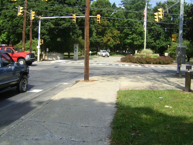 Before work began at the corner of Prospect and Ridgeway streets in East Stroudsburg, at the entrance to East Stroudsburg University.