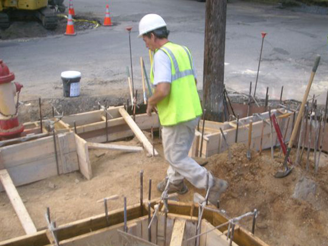 Forms being built for reconstruction of sidewalks for ADA ramps.