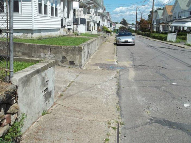 East Grove Street sidewalks before replacement, Edwardsville, Pa.