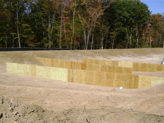 Evergreen subdivision detention basin construction